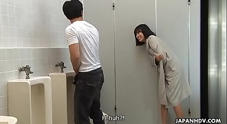 Brainwashed Asian nymphomaniac hunts for cocks in the public rest room