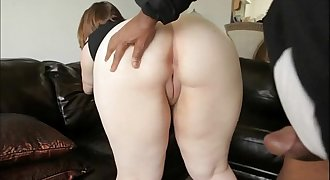 Inexperienced BBW takes a hard cock up her ass