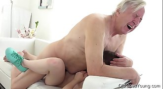 Old Goes Youthful - Luna Rival gets fucked while she vacuums the rug