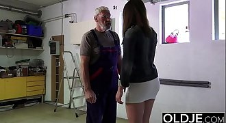 Old man fucks young chick his small cock fucks her mouth and pussy