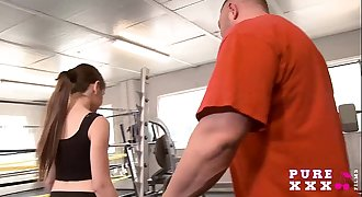 Lil' Australian bangs her gym instructor